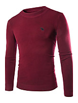 Men's Going out Casual/Daily Simple Regular Pullover,Solid Round Neck Long Sleeves Polyester Winter Medium Micro-elastic