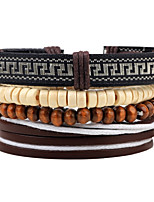Men's Strand Bracelet Wrap Bracelet Handmade Fashion Adjustable Personalized Wood Round Jewelry For Casual Stage Going out Club Street