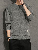 Для мужчин На каждый день Большие размеры Простое Обычный Пуловер Однотонный,Круглый вырез Длинный рукав Искусственный шёлк Полиэстер