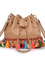 Women Bags All Seasons PU Shoulder Bag with Embroidery for Casual Black Blushing Pink Brown