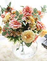 1 Piece 1 Branch Polyester Roses Tabletop Flower Artificial Flowers
