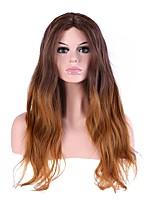 жен. Без шапочки-основы Длиный Естественные волны Темно-коричневый / Medium Auburn Волосы с окрашиванием омбре Природные волосы Стрижка