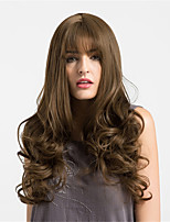 Women Synthetic Wig Capless Long Deep Wave Brown Middle Part Natural Wigs Costume Wigss