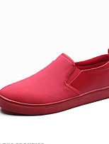 Men's Loafers & Slip-Ons Comfort Spring Fall PU Casual Flat Heel Red Black White Flat