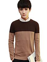 Для мужчин На каждый день Большие размеры На выход Винтаж Простое Уличный стиль Обычный Пуловер Однотонный С принтом Контрастных цветов,
