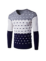 Men's Casual/Daily Work Simple Street chic Regular Pullover,Striped Color Block V Neck Long Sleeves Cotton Polyester Winter Medium