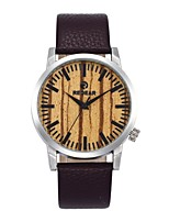 Men's Women's Fashion Watch Wood Watch Japanese Quartz Wooden Genuine Leather Band Charm Casual Brown