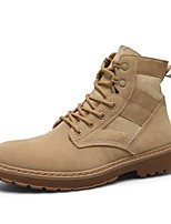 Men's Boots Combat Boots Spring Summer Fall Winter Synthetic Microfiber PU Outdoor Work & Safety Lace-up Low Heel Khaki Beige Black Under