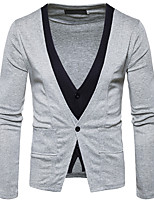 Men's Going out Casual/Daily Simple Regular Cardigan,Solid V Neck Long Sleeves Cotton Fall Medium Inelastic