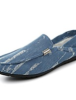 Для мужчин Мокасины и Свитер Удобная обувь Обувь для дайвинга Весна Осень Деним Повседневные На плоской подошве Темно-синий Светло-синий
