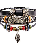 Men's Leather Bracelet Strand Bracelet Multi Layer Vintage Leather Alloy Owl Jewelry For Club Street