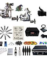 Полный комплект татуировки 2 х Стальная тату-машинка для контура и заливки 2 татуировки машины LCD питания Чернила поставляются отдельно