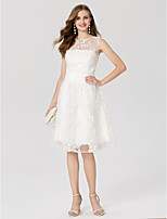 A-Line Jewel Neck Knee Length Lace Cocktail Party Dress with Sash / Ribbon by TS Couture®