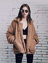 Для женщин На каждый день Офис Для клуба Осень Зима Пальто с мехом Рубашечный воротник,Простой Винтаж Уличный стиль Однотонный Обычная