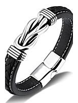 Муж. Кожаные браслеты Хип-хоп Rock Кожа Титановая сталь Бижутерия Назначение Для вечеринок День рождения