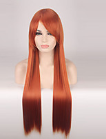 Women Synthetic Wig Capless Long Straight Orange Cosplay Wigs Costume Wig