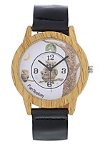 Men's Women's Fashion Watch Wrist watch Unique Creative Watch Wood Watch Chinese Quartz Leather Band Vintage Charm Elegant Casual Owl