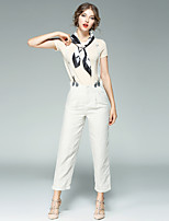 Women's Casual/Daily Work Street chic Summer T-shirt Pant SuitsSolid Round Neck Short Sleeve Micro-elastic