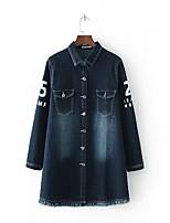 Feminino Jaqueta jeans Para Noite Casual Simples Moda de Rua Primavera Outono,Sólido Estampado Longo Outros Colarinho de Camisa Manga