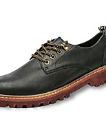 Для мужчин обувь Полиуретан Осень Зима Армейские ботинки Туфли на шнуровке Шнуровка Назначение Повседневные Черный Серый Коричневый