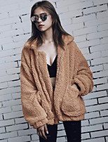 Women's Plus Size Casual/Daily Simple Fall Winter Fur Coat,Solid Shirt Collar Long Sleeve Regular Faux Fur