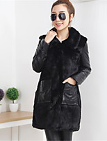 Women's Going out Casual/Daily Simple Fall Winter Fur Coat,Color Block Stand Long Sleeve Long Faux Fur Acrylic Patchwork