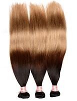 Омбре Бразильские волосы Прямые 12 месяцев 3 волосы ткет кг Пряди с быстрым креплением