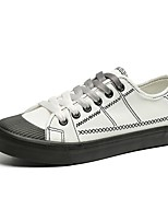 Women's Sneakers Light Soles Summer PU Casual Lace-up Flat Heel Black White Flat