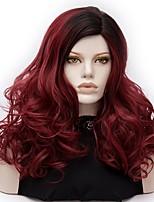 Mujer Pelucas sintéticas Sin Tapa Medio Produndo Rojo oscuro Pelo Ombre Peluca de Halloween Las pelucas del traje