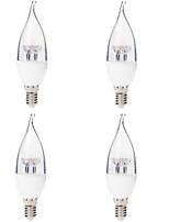 4pcs 3w e14 привели свечи лампочки 6smd 250 lm теплый белый ac220v 2700k