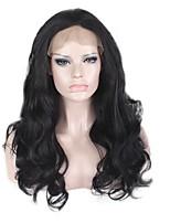 жен. Парики из искусственных волос Лента спереди Длиный Естественные кудри Черный Шелковые базовые волосы Природные волосы Для темнокожих