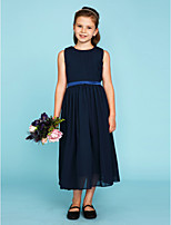 A-Line Princess Crew Neck Tea Length Chiffon Junior Bridesmaid Dress with Draping Sash / Ribbon by LAN TING BRIDE®