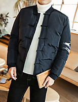 Men's Regular Padded Coat,Simple Chinoiserie Plus Size Casual/Daily Solid Print-Cotton Polyester Long Sleeves