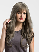 Women Synthetic Wig Capless Very Long Wavy Grey Middle Part Natural Wigs Costume Wigss