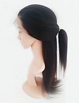 Mujer Pelucas de Cabello Natural Brasileño Cabello humano Encaje Completo 130% Densidad Con mechones Liso Natural Peluca Negro Medio Para