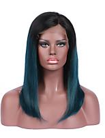 Mujer Pelucas de Cabello Natural Brasileño Remy Encaje Frontal Frontal sin Pegamento 130% Densidad Corte Bob Liso Peluca Negro Corto