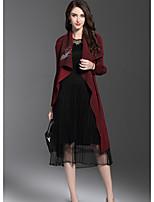 Для женщин На выход Осень Тренч Рубашечный воротник,Уличный стиль С принтом Длинная Длинный рукав,Полиэстер