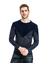Men's Going out Casual/Daily Simple Regular Pullover,Color Block Round Neck Long Sleeves Cotton Fall Winter Medium Micro-elastic
