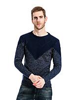 Для мужчин На выход На каждый день Простое Обычный Пуловер Контрастных цветов,Круглый вырез Длинный рукав Хлопок Осень Зима Средняя