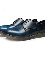 Для мужчин Туфли на шнуровке Удобная обувь Весна Осень Кожа Повседневные Черный Синий Темно-коричневый Менее 2,5 см