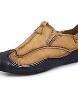 Men's Loafers & Slip-Ons Comfort Spring Fall Cowhide Hiking Shoes Athletic Flat Heel Khaki Light Brown Flat