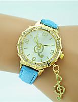 Mulheres Relógio de Moda Relógio de Pulso Quartzo Strass Couro Banda Casual Preta Branco Azul Laranja Verde Dourada Rosa