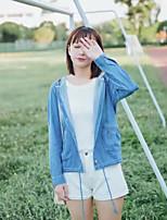 Feminino Jaqueta jeans Para Noite Casual Simples Moda de Rua Primavera Outono,Sólido Padrão Outros Com Capuz Manga Longa