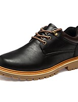Men's Boots Combat Boots Fall Winter PU Casual Office & Career Flat Heel Brown Gray Black Flat