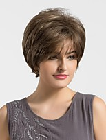 Women Synthetic Wig Capless Short Straight Medium Brown/Strawberry Blonde Layered Haircut Natural Wigs Costume Wigss