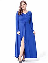Women's Plus Size Casual/Daily Street chic Swing Dress,Solid V Neck Maxi Long Sleeves Polyester Spring Fall High Rise Micro-elastic Medium