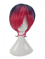 Women Synthetic Wig Capless Short Straight Pink / Purple Ombre Hair Layered Haircut Party Wig Cosplay Wigs Costume Wig