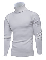 Men's Casual/Daily Work Simple Cute Regular Pullover,Solid Turtleneck Long Sleeves Modal Spring Winter Medium Micro-elastic