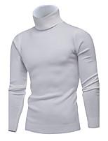 Для мужчин На каждый день Офис Простое Очаровательный Обычный Пуловер Однотонный,Хомут Длинный рукав Модал Весна Зима Средняя