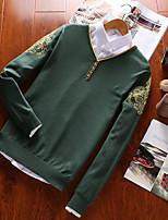 Для мужчин На каждый день Большие размеры Простое Активный Панк & Готика Обычный Пуловер Однотонный,Круглый вырез Длинный рукав Хлопок